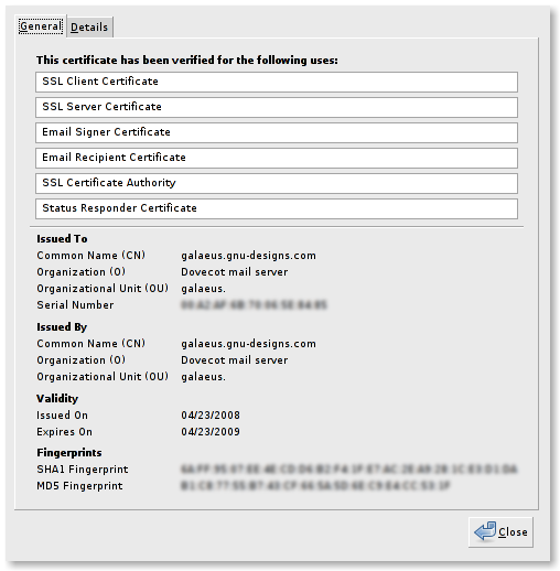 Thunderbird Dovecot SSL certificate details