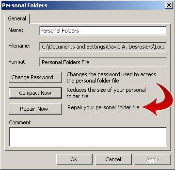 Personal Folders Repair Preferences