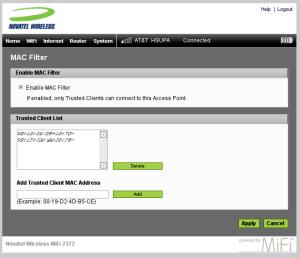 MiFi WiFi MAC Filter