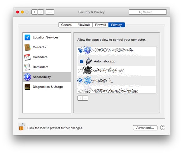 OS X Automator Permissions