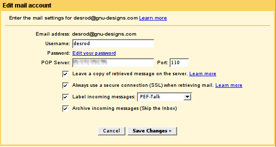 Gmail-Mail Fetcher preferences