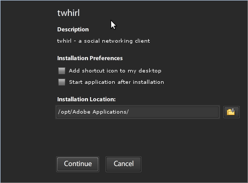 Adobe Air installer for twhirl on Linux, step 2