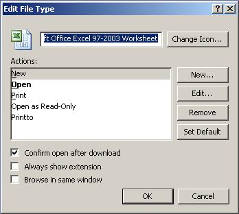 Excel icon file type dialog