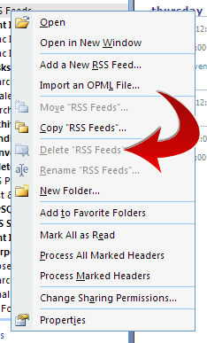 Delete RSS Feeds folder is grayed out