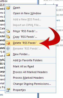Delete RSS Feeds folder