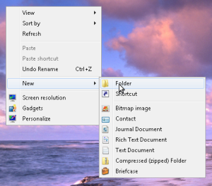 Windows 7 new folder menu