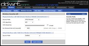 dd-wrt Wireless -> Security