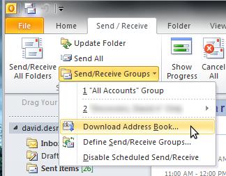 Download Outlook address book