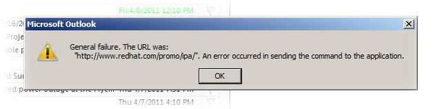 Outlook general failure dialog box