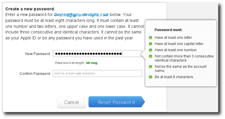 Apple ID password entry rules validated