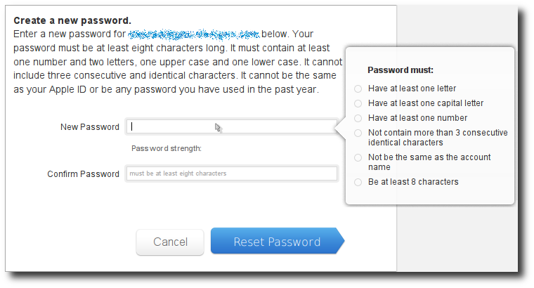 Apple ID password entry rules