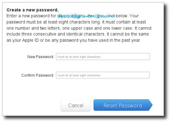 Apple ID password reset dialog
