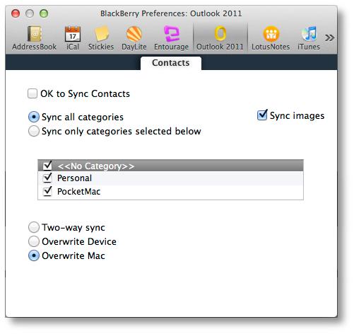 PocketMac Outlook 2011 Settings