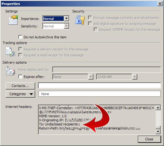 Outlook email Internet headers