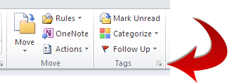 Outlook email tags header detail