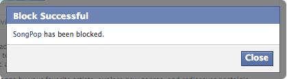 Facebook block SongPop successful