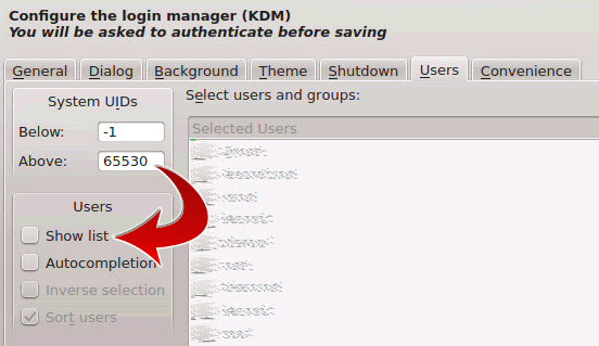 Disable the user list in KDM