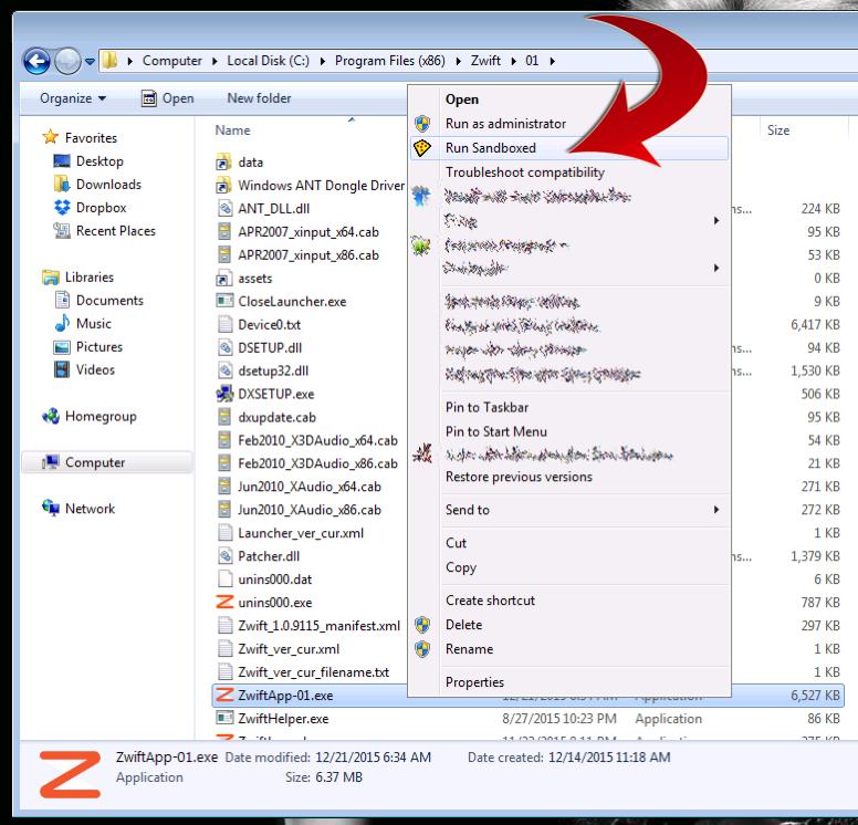 Launching Zwift in a Sandbox