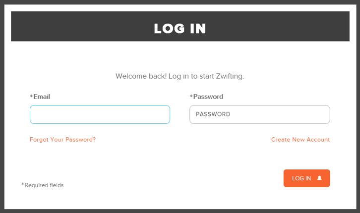 Zwift Application Login Dialog