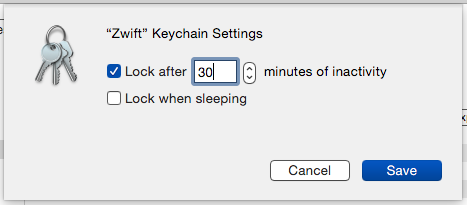 Zwift keychain timeout settings