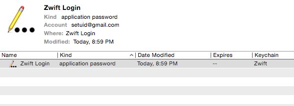 Zwift keychain user login entry