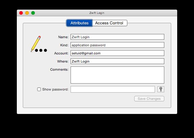 Zwift keychain account additional details