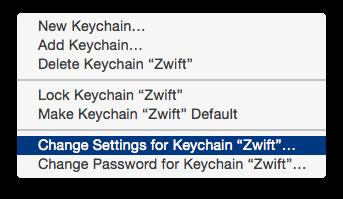 Changing Zwift keychain settings