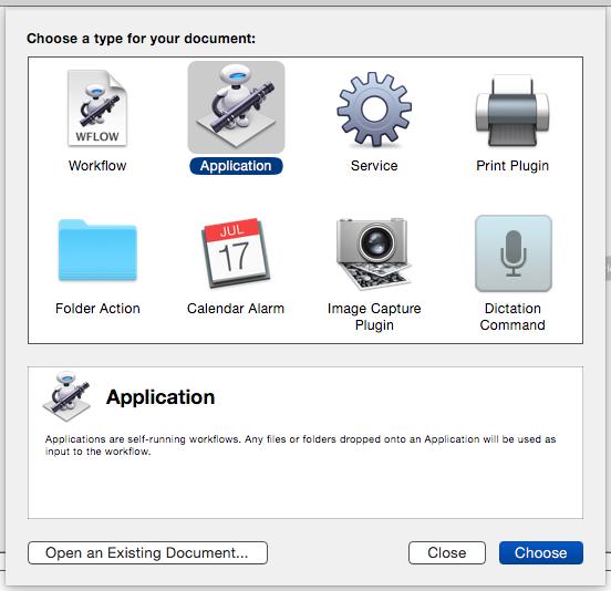 Mac OS X Automator Start screen