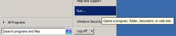 Windows - Start - Run dialog