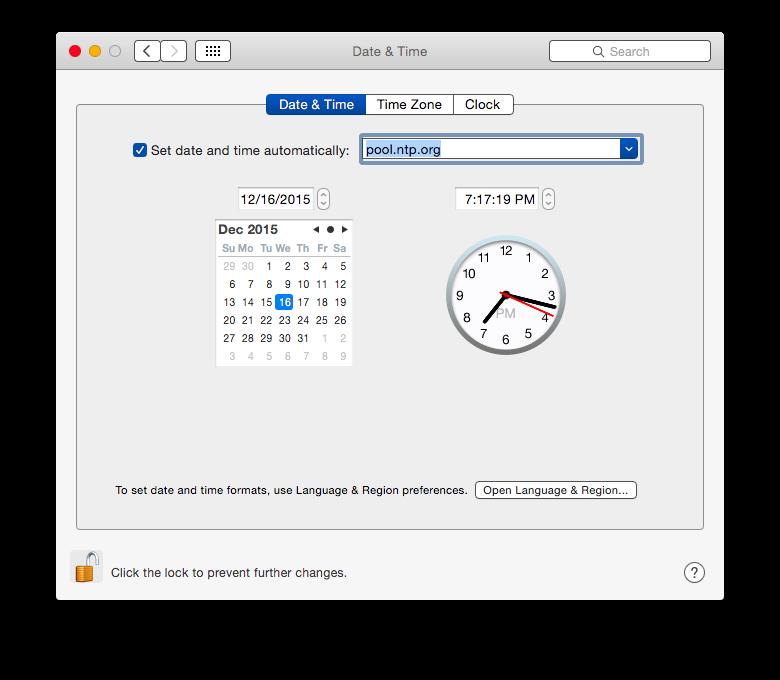 OS X pool.ntp.org Settings