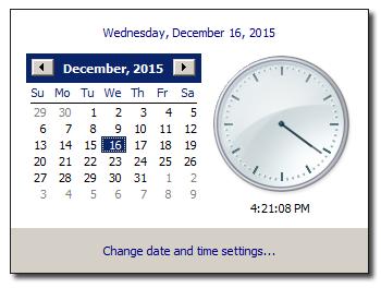 Windows System Tray clock