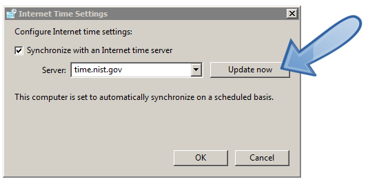 Windows set Internet time