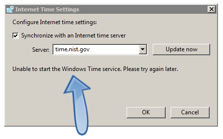 Windows unable to start Windows Time service