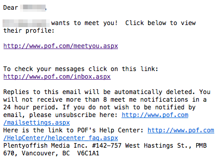 Plenty of Fish Meet Me email